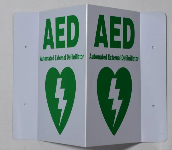 3D AED AUTOMATED EXTERNAL DEFIBRILLATOR SIGN (3D projection signs 5.5X9)- Les Deux cotes line