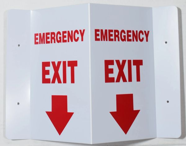 3D EMERGENCY EXIT SIGN (3D projection signs 5.5X9)- Les Deux cotes line