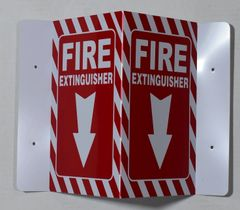3D FIRE EXTINGUISHER SIGN- RED (3D projection signs 5.5X9)- Les Deux cotes line