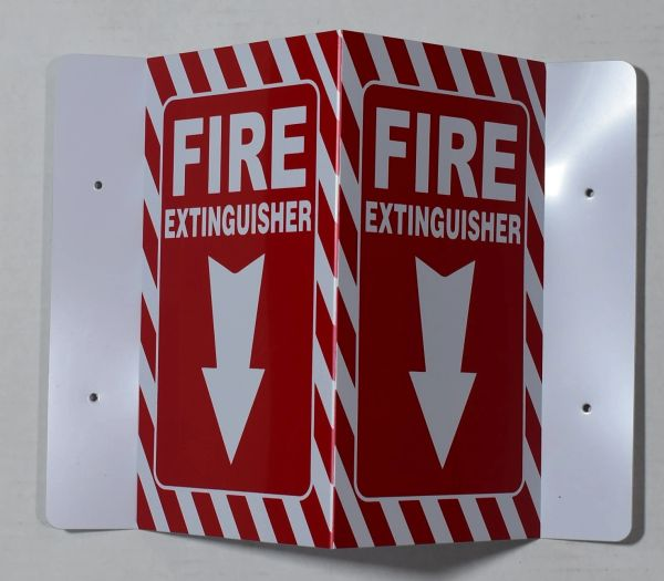 3D FIRE EXTINGUISHER SIGN- RED (3D projection signs 5.5X9)- Les Deux cotes line