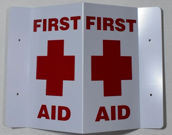 3D FIRST AID SIGN (3D projection signs 5.5X9)- Les Deux cotes line