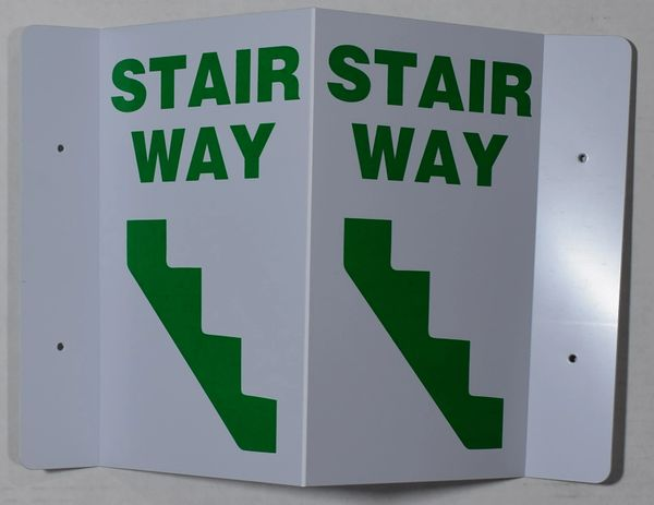 3D STAIRWAY SIGN- GREEN LETTERS (3D projection signs 5.5X9)- Les Deux cotes line