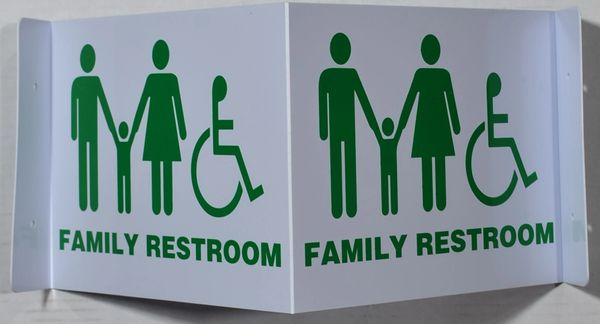 FAMILY RESTROOM SIGN (3D projection signs 9X7)- Les Deux cotes line