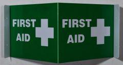 3D FIRST AID SIGN (3D projection signs 9X7)- Les Deux cotes line