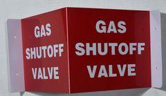 3D GAS SHUTOFF VALVE SIGN (3D projection signs 9X7)- Les Deux cotes line