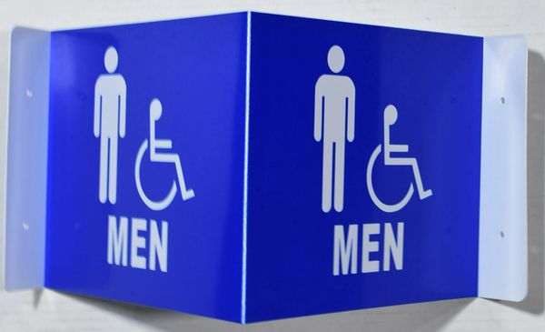 3D MEN ACCESSIBLE RESTROOM SIGN (3D projection signs 9X7)- Les Deux cotes line