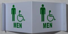 3D MEN ACCESSIBLE RESTROOM SIGN (3D projection signs 9X7)- Les Deux cotes line