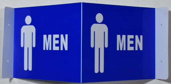 3D MEN RESTROOM SIGN- BLUE BACKGROUND (3D projection signs 9X7)- Les Deux cotes line