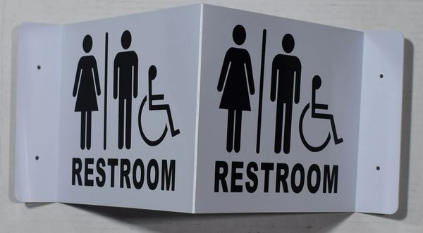 3D UNISEX ACCESSIBLE RESTROOM SIGN- BLACK LETTERS (3D projection signs 9X7)- Les Deux cotes line