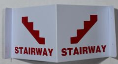 3D STAIRWAY SIGN- RED LETTERS (3D projection signs 9X7)- Les Deux cotes line