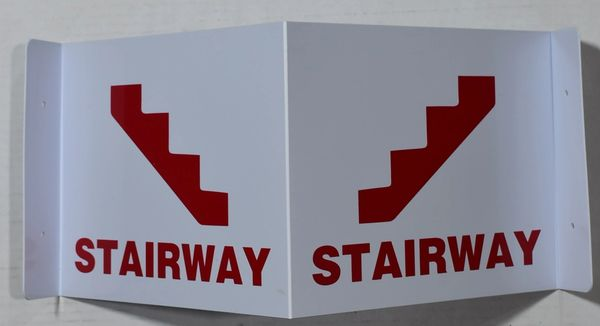 3D STAIRWAY SIGN- RED LETTERS (3D projection signs 9X7)- Les Deux cotes line