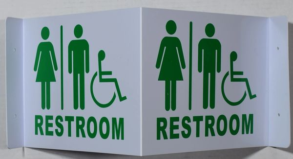 3D RESTROOM SIGN- GREEN LETTERS (3D projection signs 9X7)- Les Deux cotes line