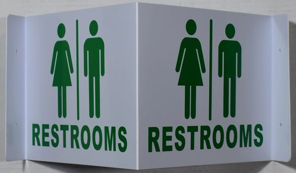 3D RESTROOMS SIGN (3D projection signs 9X7)- Les Deux cotes line