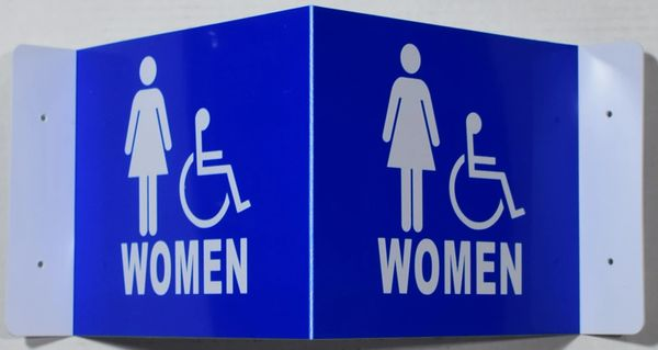 3D WOMEN ACCESSIBLE RESTROOM SIGN- BLUE BACKGROUND (3D projection signs 9X7)- Les Deux cotes line