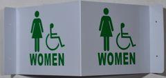 3D WOMEN ACCESSIBLE RESTROOM SIGN- WHITE BACKGROUND (3D projection signs 9X7)- Les Deux cotes line