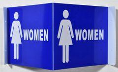 3D WOMEN RESTROOM SIGN- BLUE BACKGROUND (3D projection signs 9X7)- Les Deux cotes line
