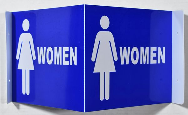 3D WOMEN RESTROOM SIGN- BLUE BACKGROUND (3D projection signs 9X7)- Les Deux cotes line
