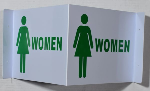 3D WOMEN RESTROOM SIGN- WHITE BACKGROUND (3D projection signs 9X7)- Les Deux cotes line