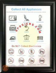 NYC Electronic recycle and appliances frame (black, frame 8.5x11, Front load)