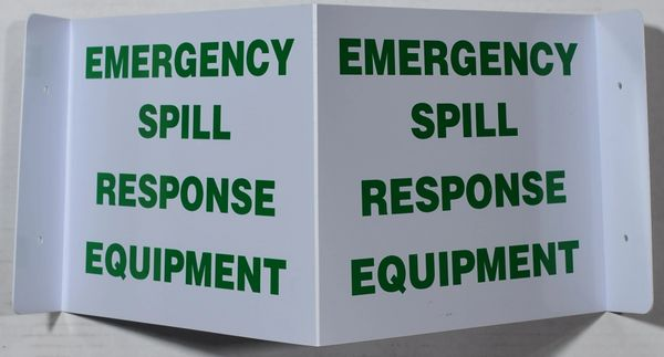 3D EMERGENCY SPILL RESPONSE EQUIPMENT SIGN (3D projection signs 9X7)- Les Deux cotes line