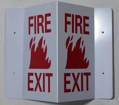 3D FIRE EXIT SIGN (3D projection signs 5.5X9)- Les Deux cotes line