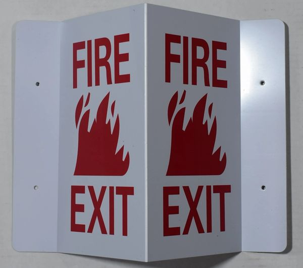 3D FIRE EXIT SIGN (3D projection signs 5.5X9)- Les Deux cotes line