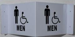 3D MEN ACCESSIBLE RESTROOM SIGN (3D projection signs 9X5.5)- Les Deux cotes line