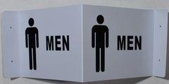 3D MEN RESTROOM SIGN- WHITE BACKGROUND (3D projection signs 9X7)- Les Deux cotes line