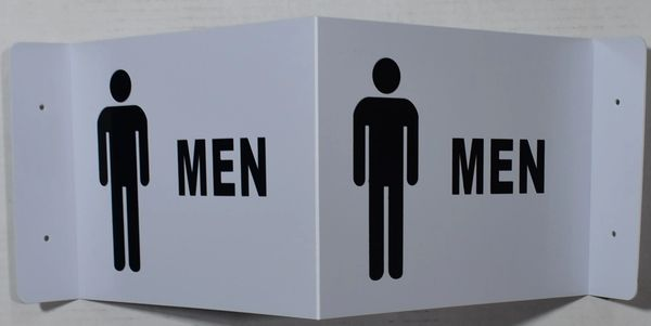 3D MEN RESTROOM SIGN- WHITE BACKGROUND (3D projection signs 9X7)- Les Deux cotes line