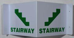 3D STAIRWAY SIGN- GREEN LETTERS (3D projection signs 7X9)- Les Deux cotes line