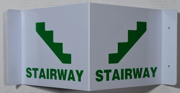 3D STAIRWAY SIGN- GREEN LETTERS (3D projection signs 7X9)- Les Deux cotes line