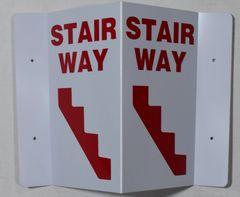 3D STAIRWAY SIGN- RED LETTERS (3D projection signs 5.5X9)- Les Deux cotes line