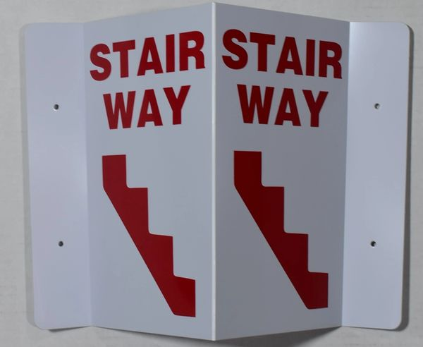3D STAIRWAY SIGN- RED LETTERS (3D projection signs 5.5X9)- Les Deux cotes line