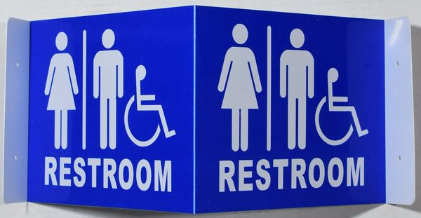 3D UNISEX ACCESSIBLE RESTROOM SIGN- BLUE (3D projection signs 9X7)- Les Deux cotes line