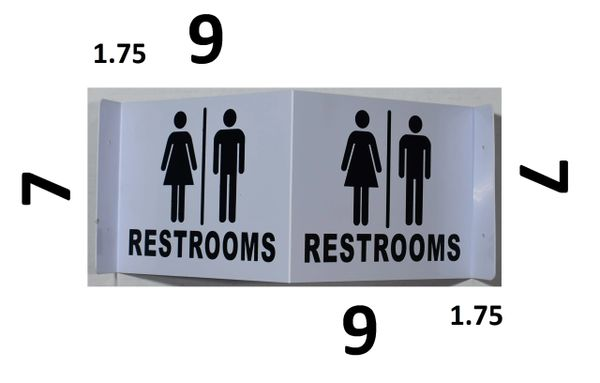 3D UNISEX ACCESSIBLE RESTROOM SIGN- GREEN LETTERS (3D projection signs 9X7)- Les Deux cotes line