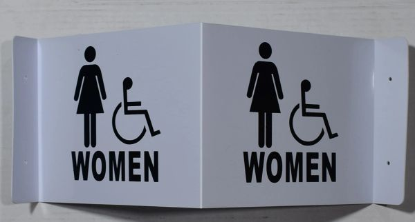 3D WOMEN ACCESSIBLE RESTROOM SIGN- WHITE BACKGROUND (3D projection signs 9X7)- Les Deux cotes line