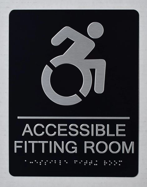 ACCESSIBLE FITTING ROOM SIGN - BLACK- BRAILLE (ALUMINUM SIGNS 9X6)- The Sensation Line