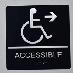 ACCESSIBLE RIGHT SIGN - BLACK- BRAILLE (ALUMINUM SIGNS 9X9)- The Sensation Line