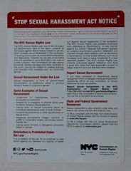 STOP SEXUAL HARASSMENT ACT NOTICE (ALUMINUM SIGNS 11x8.5)