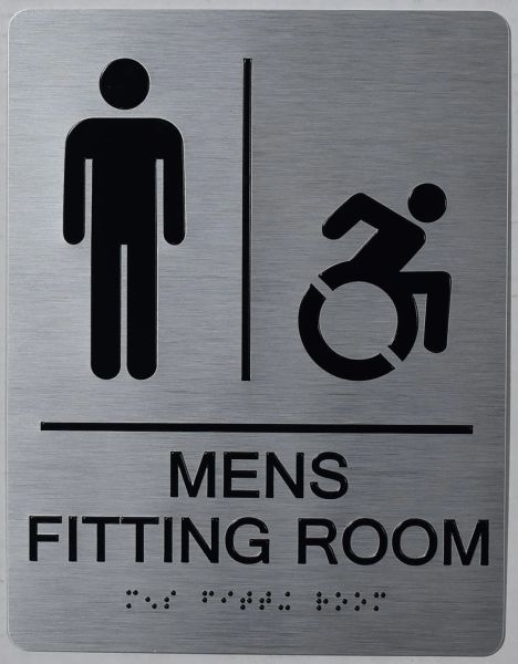 MENS ACCESSIBLE FITTING ROOM SIGN- SILVER- BRAILLE (ALUMINUM SIGNS 9X6)- THE SENSATION LINE
