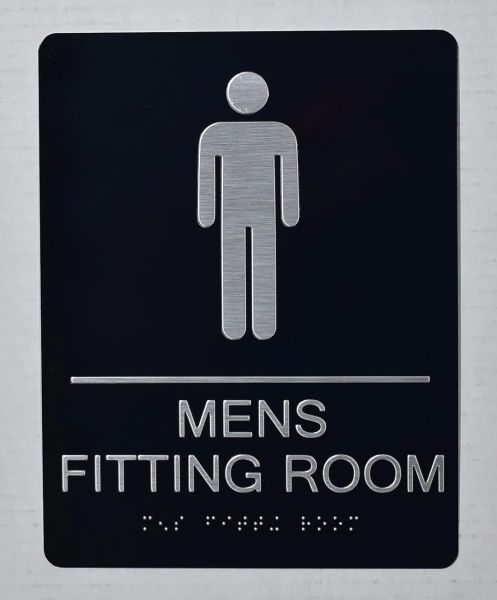 MENS FITTING ROOM SIGN-BLACK- BRAILLE (ALUMINUM SIGNS 9X6)