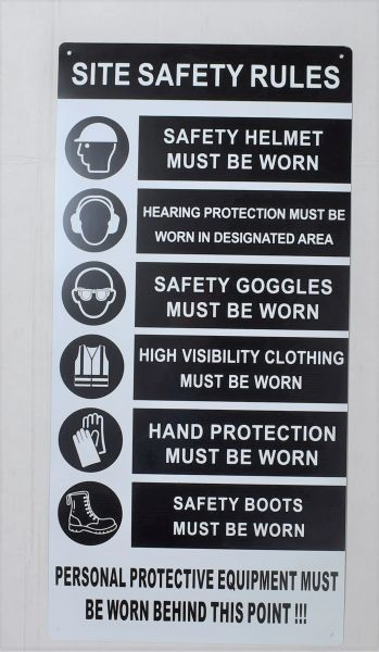 CONSTRUCTION SITE SAFETY RULES SIGN (ALUMINUM SIGNS 23.5X11.5)
