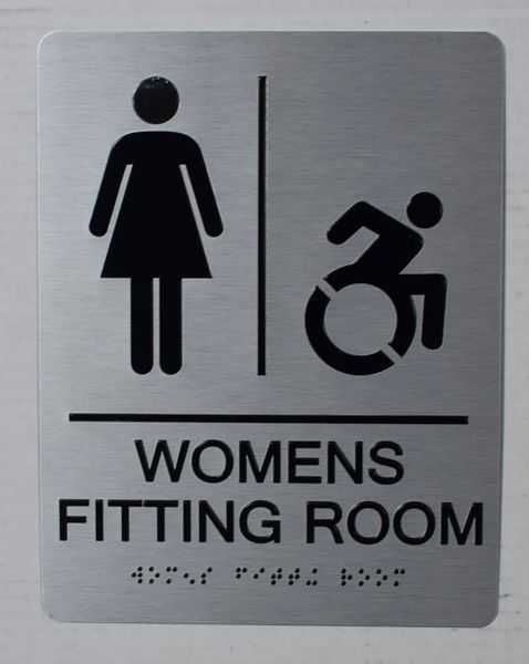 WOMENS FITTING ROOM SIGN-SILVER- BRAILLE (ALUMINUM SIGNS 9X6)