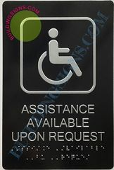 ASSISTANCE AVAILABLE UPON REQUEST SIGN-BLACK- BRAILLE (ALUMINUM SIGNS 9X6)- The Sensation Line