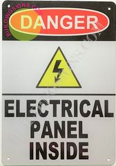 DANGER ELECTRICAL PANEL INSIDE SIGN-WHITE background - ALUMINUM (ALUMINUM SIGNS 10X7)