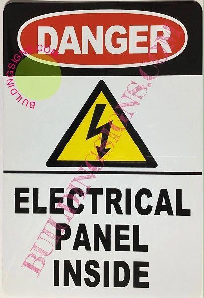 DANGER ELECTRICAL PANEL INSIDE SIGN-white background - ALUMINUM (ALUMINUM SIGNS 10X7)