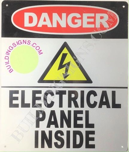 DANGER ELECTRICAL PANEL INSIDE SIGN-WHITE background - ALUMINUM (ALUMINUM SIGNS 12X10)