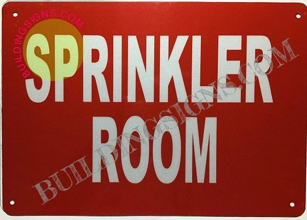 SPRINKLER ROOM SIGN- Reflective !!!- RED (ALUMINUM SIGNS 7X10)