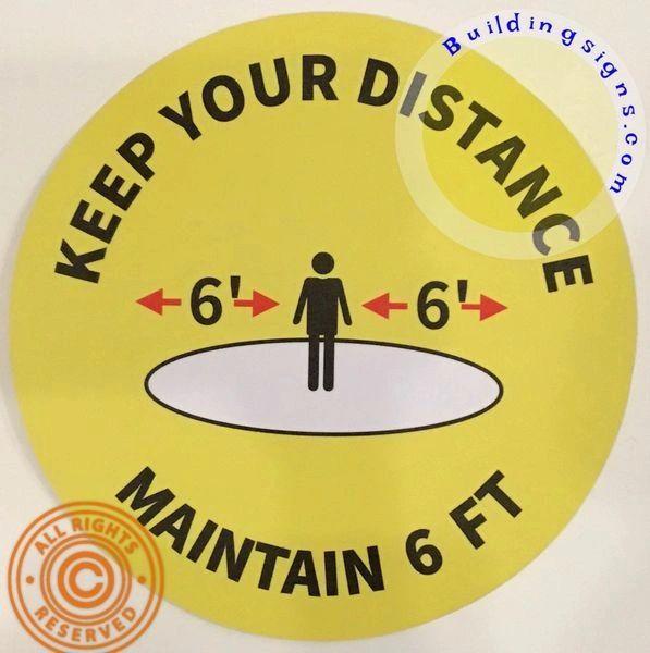 Lobby floor - Wall Keep Your Distance 6 FEET Floor Sticker (18 INCH !!!!, Yellow)