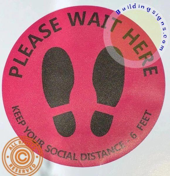 Please Wait HERE - Keep Your Social Distance-6 FEET Floor Sticker (12 inch Diameter, Anti-Skid, Vinyl Barn Red/Maroon)…